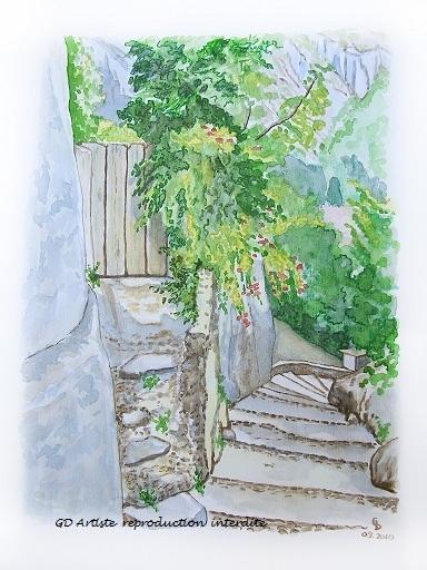 aquarelle,pont en royans,paysage aquarelle,vercors,isère,royans,montagne,gd artiste