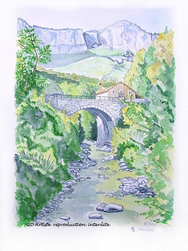 aquarelle,choranche,vercors,paysage aquarelle,isère,montange,pont,rivière,royans,gd artiste