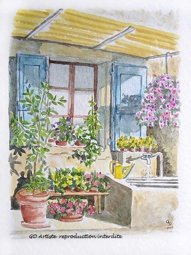 aquarelle,paysage aquarelle,fenetre,bassin,fleurs,vercors,royans,drome,paysage,gd artiste