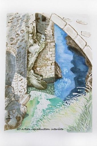 aquarelle,pont en royans,isere,vercors,paysage aquarelle,royans,montagne,troll,pont,gd artiste