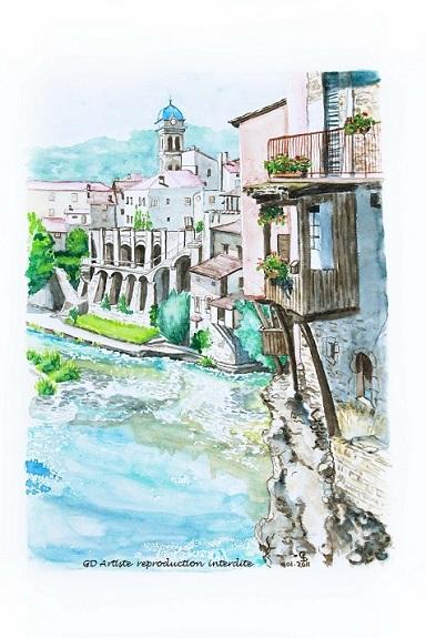 aquarelle,pont en royans,paysage aquarelle,isère,vercors,royans,montagne,gd artiste