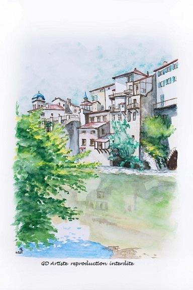 aquarelle,pont en royans,paysage aquarelle,royans,vercors,montagne,isère les berges,gd artiste