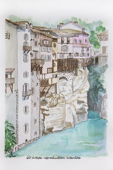 aquarelle,pont en royans,aquarelle paysage,maisons suspendues,isère,vercors,royans,montagne,gd artiste