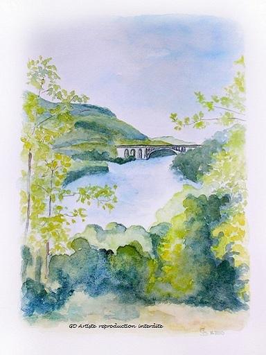 aquarelle,paysage aquarelle,isère,rivière,pont,paysage,saint hilaire en royans,saint nazaire en royans,vercors,drome,montagne,gd artiste