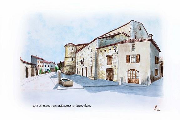aquarelle,saint andré en royans,paysage aquarelle,royans,cité médiévale,fontaine,chateau,vercors,isère,gd artiste