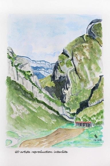 aquarelle,sainte eulalie en royans,vercors,montagne,paysage,paysage aquerelle,royans,isère,gd artiste